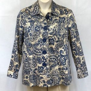 Requirements navy and cream floral jacket